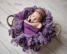 "Texture Fluff ""Amethyst Hearts"", newborn photo prop, basket filler, curly wool prop, loose curls, wool basket stuffer by NatartMadeThis on Etsy"