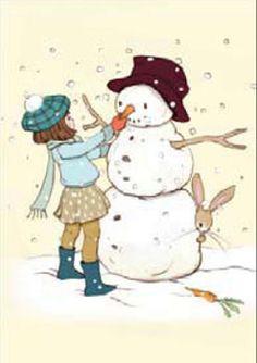 Kerstkaart - De sneeuwpop