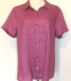 NWT J Jill Sz XL Amethyst Purple Button Front Linen Shirt Blouse Vertical Tucks #JJill #ButtonDownShirt #Casual