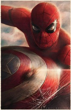 Spidey with Cap's Shield - James Bousema