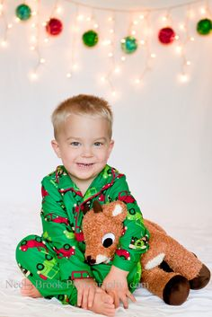 Bold PJ's, white backdrop...and of course, Rudolf. Like this idea for the kids christmas card...