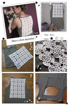 Diy t-shirt kaki + dentelle