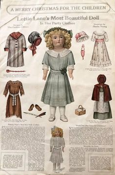 """Kestner 171 Known As """"DAISY"""" circa 1911 in Lovely Dress & Shoes : Kathy Libraty's Antiques Victorian Paper Dolls, Vintage Paper Dolls, Antique Dolls, Vintage Girls, Vintage Outfits, Vintage Children, Paper Dolls Printable, Shabby, Retro Christmas"""