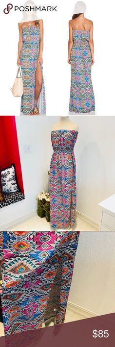 """Lovers + Friends Dawn Mosaic Strapless Maxi Dress Dawn Maxi Dress in Mosaic — Brand: Lovers + Friends - from Revolve  — Size: Medium — Colors: White/Pink/Orange/Green/Blue     — Gorgeous, On-Trend Jewel Tones — Elastic Strapless and Waistband  — Silky Polyester — Sexy Side Slit  ▪️underarm to underarm: 15"""" ▪️waist laying flat: 13.5"""" ▪️length: 52"""" ▪️slit height: 28""""  🔆Offer what you find fair 🔅Bundle for a private discount Lovers + Friends Dresses Maxi"""