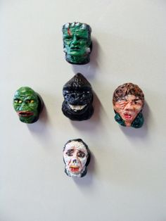 Classic Monster-Heroes  Refrigerator Magnet Set Heads by YokaiJohn