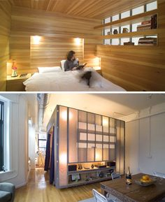 """Turn a studio apartment into a cozy home with this """"box room"""" looks good, works with you and has great storage."""