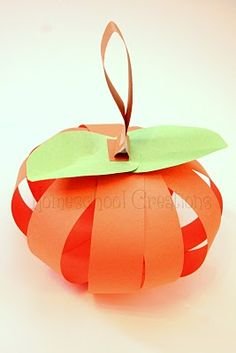 Easy Paper Strip Pumpkins or could be apples.