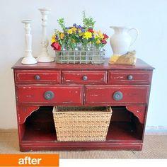Before & After: Trashed Hutch Turned Vanity Dresser — Sweet Pickins