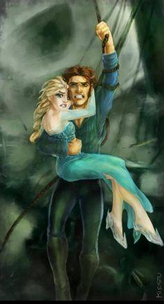 Hans saving Elsa awwwwwww they are such a good couple