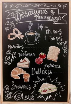 A Mano Gráfica : Desayunos y meriendas Cool Menu Design, Cafe Design, Store Design, Restaurant Design, Restaurant Bar, Cafeteria Menu, Bakery Interior, Cafe Wall, Chalk Lettering