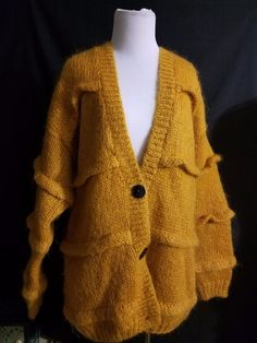 Gorgeous Mohair Wool V-Neck Cardigan Button Front Sweater Medium Goldenrod Warm #ChelseaYoung #Cardigan