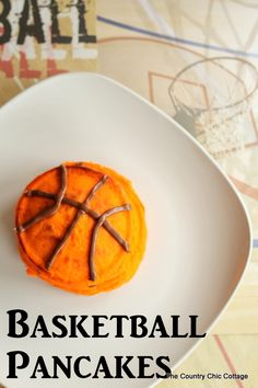 Easy to make basketball pancakes for a fun themed breakfast the boys will love!  make for March Madness!