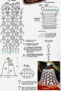 Stylowi.pl - Odkrywaj, kolekcjonuj, kupuj Irish Crochet Patterns, Crochet Snowflake Pattern, Crochet Snowflakes, Crochet Chart, Thread Crochet, Crochet Christmas Decorations, Crochet Christmas Ornaments, Christmas Crochet Patterns, Christmas Bells