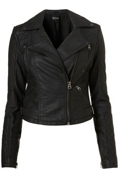 Quilted Panel PU Biker - StyleSays  Add this to my list of ridiculous things I want but have little to no use for and definitely can't afford. Still, I love black leather jackets :-)