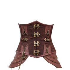 真鍮バックルと腰に飾りの付いたブラウン ブロケード スチームパンク アンダーバスト コルセット。