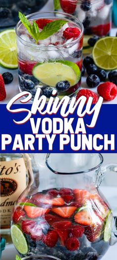 With just 2 ingredients this SKINNY Vodka Party Punch will be a hit at your next. - With just 2 ingredients this SKINNY Vodka Party Punch will be a hit at your next. Party Punch Recipes, Easy Drink Recipes, Drinks Alcohol Recipes, Cocktail Recipes, Margarita Recipes, Jungle Juice, Low Carb Cocktails, Vodka Cocktails, Martinis