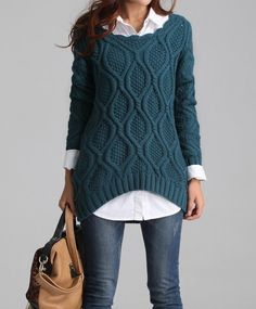 Hand knitted sweater, size large but fit for you. Fashionable, lovely, nifty, warm and fit, even though wear in winter you will have the breath of spring~~~  High quality, good material! Hand wash! And there are Dark green, khaki, brick red(as pictures 1,2,3 shows ) three different color choi...