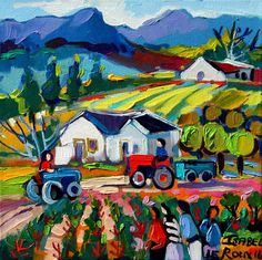 Artwork of Isabel le Roux exhibited at Robertson Art Gallery. Original art of more than 60 top South African Artists - Since Landscape Quilts, Landscape Paintings, Watercolor Bird, Watercolor Paintings, Mexican Market, Oil Painting Texture, South African Artists, Paintings I Love, Naive Art