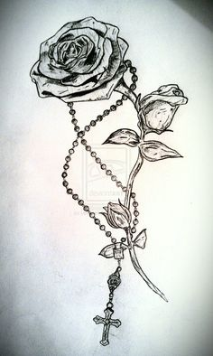 Rose and Rosary Tattoo by ~LeviLambert on deviantART
