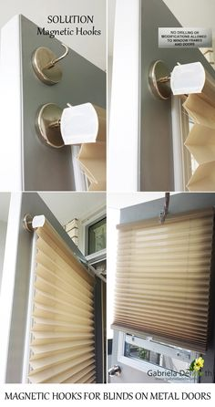 Home Hacks: How to install blinds without drilling a balcony door with magnetic hooks.