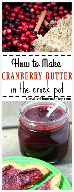 This crock pot cranberry butter made from fresh cranberries is a delicious holiday treat and a great gift for friends or family. Zucchini Muffins, Muffins Blueberry, Almond Muffins, Fresh Cranberry Recipes, Cranberry Jam, Cranberry Butter Recipe, Thanksgiving Recipes, Fall Recipes, Holiday Recipes