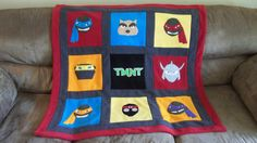 Custom Made TMNT Teenage Mutant Ninja Turtle Comic Fleece Applique Blanket
