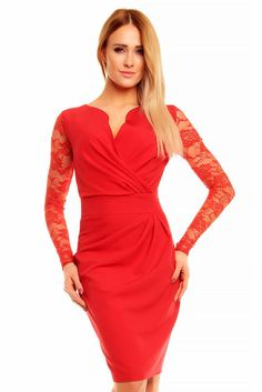 Wrap Around Self Belted Sheath Red Laced Dress