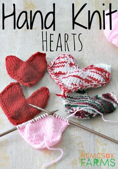 Craft these Quick Knit Hand Knit Hearts for DIY Valentine's Day gifts.