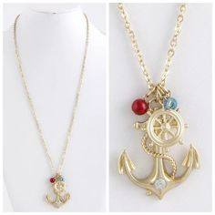 """D26 Nautical Anchor Wheel Crystal Long Necklace Long Anchor Necklace  Really fun and stylish necklace. Sure to dress up any outfit. Gold color metal with a cluster of charms.  An anchor, nautical wheel and a a read and turquoise bead for some extra color!  Necklace is approximately 31"""" long, including the 3"""" of extender chain. Please check my closet for many more items including designer clothing, scarves, shoes, handbags & much more! Boutique Jewelry Necklaces"""