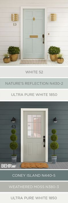 Cleaning up the exterior of your home in time for spring doesn't have to be hard. You can raise your house's curb appeal in just a few easy steps. These two color palettes from BEHR Paint use traditio (Porch Step Curb Appeal) Exterior Gris, Exterior Color Palette, Exterior Paint Colors For House, Paint Colors For Home, Exterior Design, Paint Colours, Bher Paint Colors, Exterior House Colors Combinations, Exterior Paint Schemes