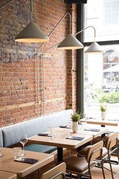 Atelier Filz designs bespoke lighting and chairs for restaurant in Quebec City #restaurantdesign