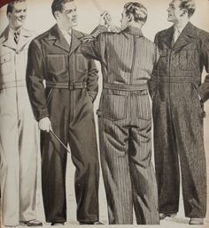 Men's 1942 Coveralls with a wide leg fit, extra wide lapels, and two front and back pockets.