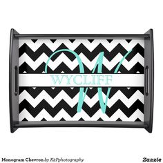 Monogram Chevron Serving Tray - black and white, monogram, name, initial, pattern, print, chevron, zigzag, chic, trendy, cute
