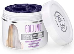 Purple Hair Mask for Blonde, Platinum & Silver Hair - Banish Yellow Hues: Blue Masque to Reduce Brassiness & Condition Dry Damaged Hair - Sulfate Free Toner - LadiesBelle