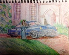Pencil Sketch Woman with 49 Cadillac (2015) - Yet to be named and Painting upcoming