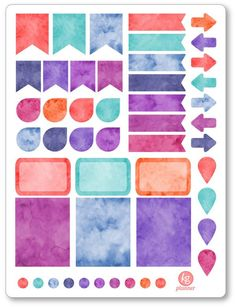 Watercolor Blues Functional Basics Stickers