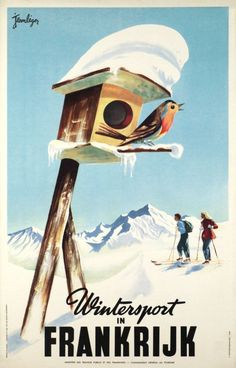 1950 Winter Sports in France vintage travel poster / bird