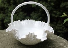 Large Fenton milk glass bowl with handle.  by AnythingDiscovered, $58.00