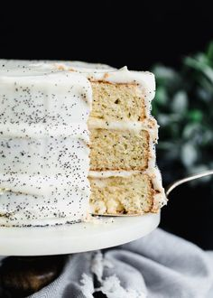 A luxurious Lemon Poppyseed Cake with lemon cream cheese frosting.