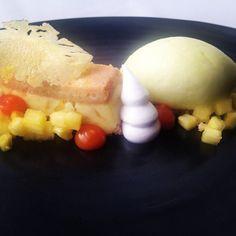 New Topolo 1931 menu: brandied ladyfingers w luxury pastry cream, infused pineapple, pineapple sorbet, xoconostle-mango Crema