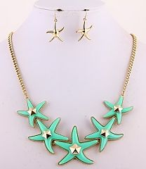 Mint Starfish Necklace Set