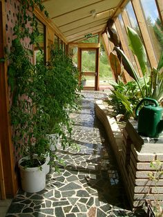 Inside entryway of the earthship