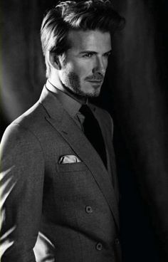 David Beckham grey double-breasted suit