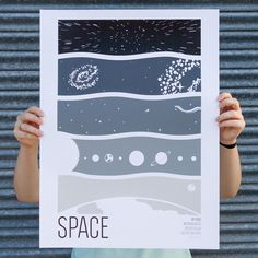 """What's on press... A few months ago we were fortunate enough to print the """"Earth"""" """"Ocean"""" and """"Atmosphere"""" posters for our good friends @wearebrainstorm. Today we're excited to show the fourth installment of their 'Earth Science' poster series; """"Space"""". A 5/0 screen print poster designed and sold by @wearebrainstorm and printed on @frenchpaperco Pure White. All posters from this series are five colored """"layered"""" prints showing graphic cross sections of these topics. Check them out at…"""