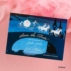 disney wedding save the date--OMG these will be mine invitation Cinderella Theme, Cinderella Wedding, Disney Theme, Princess Wedding, Disney Dream, Disney Love, Disney Disney, Disney Magic, Disney Princess
