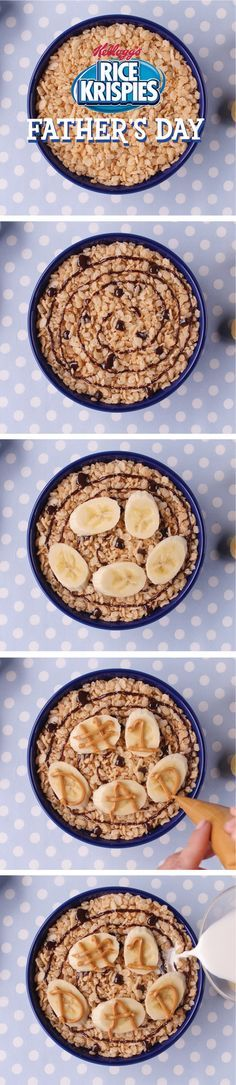 Show dad he's #1 this Father's Day with a yummy Rice Krispies® chocolate and peanut butter bowl. For more fun and easy #BowlsInASnap, visit http://RiceKrispies.com. Ingredients: - 1 1/4 cup Kellogg's® Rice Krispies® cereal - Chocolate sauce - 1/3 banana - 1/4 cup creamy peanut butter - 1/2 cup skim milk