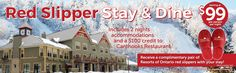 Red Slipper Stay & Dine Package Curl up in the country comfort of the Calabogie Peaks Hotel after a meal at Canthooks Restaurant with our Red Slipper Stay & Dine package. Ottawa Hotels, Ottawa Valley, Hotel Specials, Red Slippers, Hotel Stay, Hotels And Resorts, Ontario, How To Memorize Things, Meal
