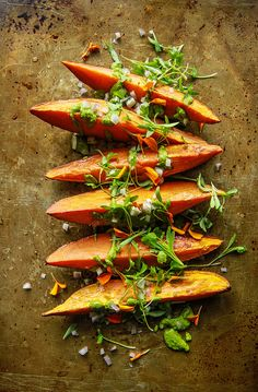 Roasted Sweet Potato Wedges with Cilantro Tahini Sauce from HeatherChristo.com