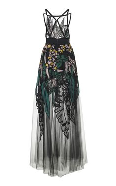 GABRIELLE'S AMAZING FANTASY CLOSET | Elie Saab's Dazzling Gown is cut from Black Tulle, Embellished throughout with Embroidered Tropical Leaves and Flowers. (Back Image) You can see all of the Images of this Outfit and my Remarks on this board. - Gabrielle