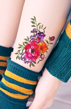Tattoos for women Leg Tattoos Women, Best Tattoos For Women, Baby Tattoos, Tatoos, Flower Tattoo On Ankle, Ankle Tattoo, Rose Vine Tattoos, Flower Tattoos, Colorful Flower Tattoo